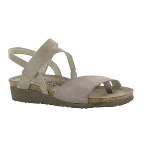 Naot Blaire Nubuck Leather Backstrap Wedge Sandals